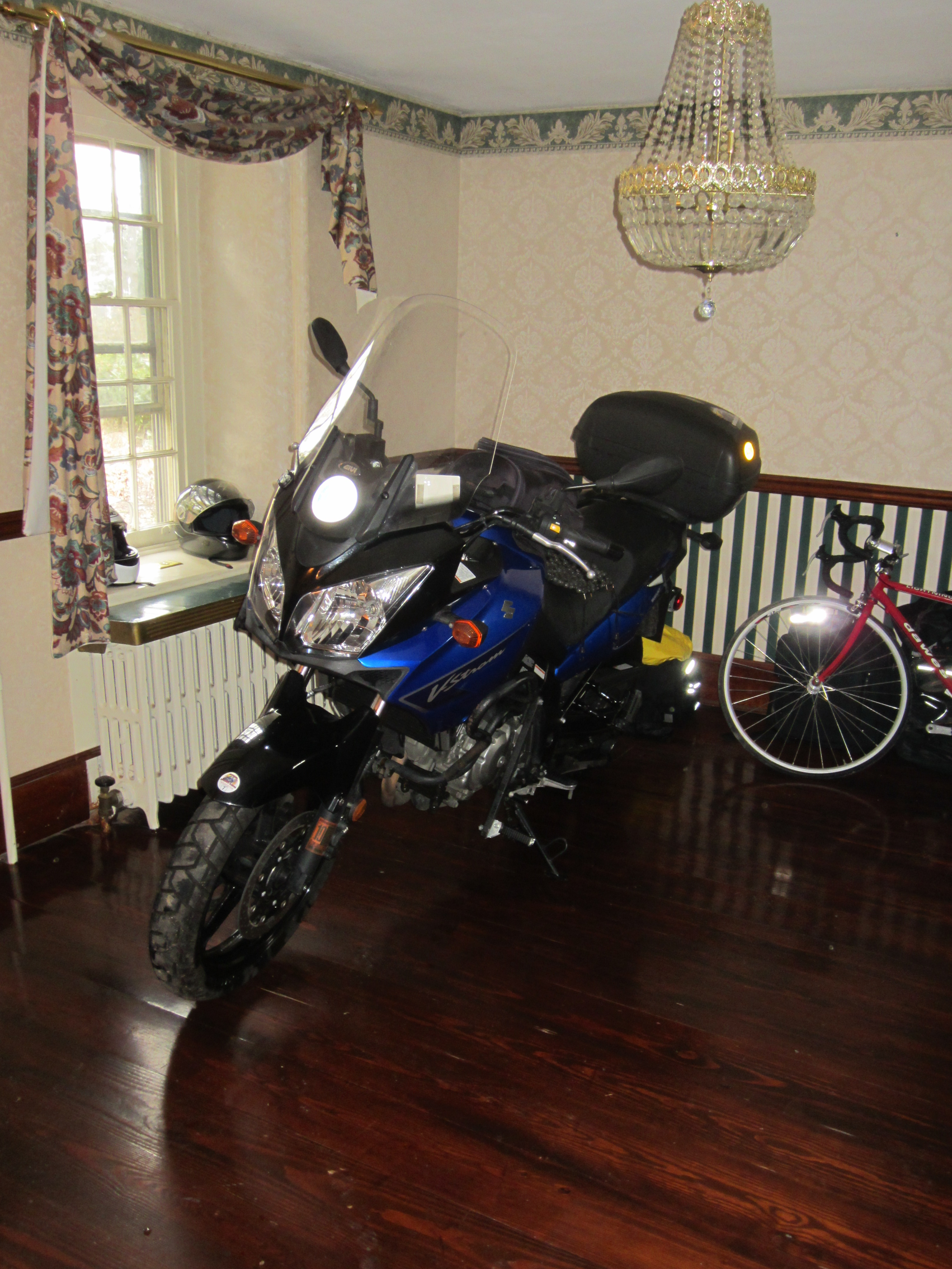 As A Bachelor, I Have A Very Convenient And Dry Place To Store My Motorcycle  For The Winter U2013 My Foyer!