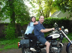 Me and my daughter. Just posing. No, we did not go riding without protective gear!